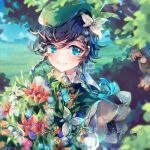 1boy androgynous bangs beret black_hair blue_flower blue_hair blurry blurry_background bouquet bow braid cape closed_mouth clouds cloudy_sky collared_cape collared_shirt flower genshin_impact glowing glowing_hair gradient_hair green_eyes green_headwear hair_flower hair_ornament hat leaf looking_at_viewer male_focus multicolored_hair red_flower shirt short_hair_with_long_locks sky smile solo starlipop twin_braids venti_(genshin_impact) white_flower white_shirt