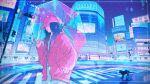 1girl baseball_cap black_cat black_hair building cat crosswalk drawstring gradient_hair hand_in_pocket hat highres holding holding_umbrella intersection jacket long_hair multicolored_hair original pink_hair pink_headwear pink_jacket reflection solo tokyo_(city) transparent transparent_umbrella umbrella wacca005