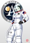 1960s_(style) 1girl american_flag apollo_11 apollo_program astronaut geitassha genderswap genderswap_(mtf) gloves helmet looking_at_viewer michael_collins nasa nasa_logo one_eye_closed photoshop_(medium) real_life retro_artstyle signature simple_background solo space space_helmet spacesuit white_background
