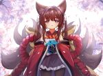+_+ 1girl amagi-chan_(azur_lane) animal_ears azur_lane ball bangs black_legwear blunt_bangs blurry brown_hair commentary_request depth_of_field drooling eyebrows_visible_through_hair eyes_visible_through_hair fox_ears fox_girl fox_tail hair_ribbon holding holding_ball kyuubi long_hair looking_at_viewer marekamico multiple_tails off-shoulder_kimono pantyhose parted_lips ribbon rope shimenawa sidelocks solo symbol-shaped_pupils tail thick_eyebrows twintails violet_eyes wide_sleeves