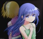2girls back-to-back bangs bare_shoulders black_background black_hairband blonde_hair blue_eyes blue_hair blue_shorts blunt_bangs clenched_hand closed_mouth collarbone commentary_request dress eyebrows_visible_through_hair facing_away floating_hair furude_rika green_dress green_ribbon hairband hand_on_own_chest hand_up higurashi_no_naku_koro_ni houjou_satoko long_hair looking_to_the_side morte_ai multiple_girls pink_shirt ribbon shiny shiny_hair shirt short_hair shorts simple_background sleeveless sleeveless_dress sleeveless_shirt spaghetti_strap twitter_username upper_body