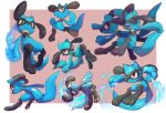 ^_^ absurdres border closed_eyes closed_mouth commentary_request creature energy fang frown gen_4_pokemon highres multiple_views nullma open_mouth outside_border pokemon pokemon_(creature) red_eyes riolu smile toes tongue white_border