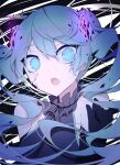 1girl bare_shoulders black_gloves black_shirt blue_eyes blue_hair commentary cracked_skin elbow_gloves fang frilled_neckwear ghost_rule_(vocaloid) giryu gloves glowing hand_up hatsune_miku highres long_hair looking_at_viewer open_mouth shattered shirt skin_fang sleeveless sleeveless_shirt solo twintails upper_body very_long_hair vocaloid wide-eyed