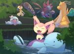 bush cat claws closed_mouth day dragonite fangs floating gen_1_pokemon gen_2_pokemon gen_3_pokemon gen_5_pokemon gen_8_pokemon hattrem highres holding hydreigon looking_back mawile no_humans nullma open_mouth outdoors pokemon pokemon_(creature) quagsire red_eyes riding_pokemon ripples signature sitting skitty smile solid_oval_eyes tongue water |d