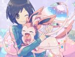 1boy bangs black_hair blue_jacket buntatta calem_(pokemon) closed_mouth commentary_request eyelashes gen_6_pokemon grey_eyes jacket long_sleeves looking_at_viewer male_focus one_eye_closed pokemon pokemon_(creature) pokemon_(game) pokemon_xy short_hair smile sylveon upper_body v v-shaped_eyebrows