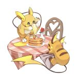 alolan_form alolan_raichu chair commentary_request dlitw flower food gen_1_pokemon gen_7_pokemon highres holding no_humans open_mouth pancake plate pokemon pokemon_(creature) raichu red_flower smile syrup table toes vase