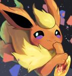 blurry blush closed_mouth commentary_request fang fire_stone flareon gen_1_pokemon highres looking_at_viewer no_humans nullma pokemon pokemon_(creature) smile solo toes violet_eyes yellow_fur