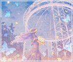 1girl blue_sky bug butterfly dress floating_hair flower grass holding holding_flower insect long_hair original petals plant print_dress purple_dress purple_hair short_sleeves sky solo upper_body wacca005