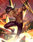 1boy abs black_hair fire full_body_tattoo hitoshura looking_at_viewer male_focus molten_rock muscular navel shin_megami_tensei shin_megami_tensei_iii:_nocturne shirtless shoes short_hair shorts simple_background smile solo tattoo yellow_eyes