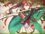 >:) 1girl akikaze_rui armor bangs beige_background black_gloves blackfangs blurry blurry_foreground brown_hair closed_mouth cowboy_shot elbow_gloves falling_petals fighting_stance fingerless_gloves fingernails floating_hair floral_background flower frilled_skirt frills gloves gradient gradient_background green_kimono grey_background hair_between_eyes hair_flower hair_ornament hands_up holding holding_sword holding_weapon japanese_armor japanese_clothes katana kimono letterboxed light_particles long_hair looking_at_viewer miniskirt obi petals pleated_skirt ponytail red_eyes red_flower ribbon-trimmed_clothes ribbon-trimmed_sleeves ribbon_trim sash short_sleeves shoujo_kageki_revue_starlight shoujo_kageki_revue_starlight_-re_live- shoulder_armor sidelocks skirt smile sode solo standing sword tassel transparent_border v-shaped_eyebrows very_long_hair wavy_hair weapon white_skirt wide_sleeves