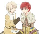 2boys acolyte_(ragnarok_online) armored_boots bangs belt blonde_hair boots brown_footwear brown_gloves brown_pants brown_shirt brown_shorts capelet cassock cheesecake closed_eyes commentary_request cross_scar eyebrows_visible_through_hair feeding food fork full_body gloves hair_between_eyes holding holding_fork indian_style long_sleeves looking_at_another misuguu multiple_boys open_mouth pants ragnarok_online red_eyes redhead scar scar_on_face seiza shirt short_hair shorts simple_background sitting standing swordsman_(ragnarok_online) white_background white_capelet