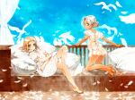 2girls absurdres ass back_bow bare_legs barefoot bird blonde_hair blue_eyes blue_sky blush bow commentary crossed_legs dark_skin dark_skinned_female dove dress english_commentary feathers full_body grey_eyes hair_bun highres kneeling looking_at_viewer looking_back medium_hair multiple_girls neck_ribbon original oyari_ashito parted_lips petite pillow pointy_ears puffy_short_sleeves puffy_sleeves redrawn ribbon see-through short_sleeves silver_hair sitting sky veranda white_dress