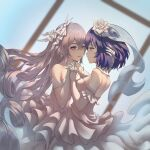 2girls bangs bare_shoulders blue_eyes blurry blurry_background blush breasts bridal_veil bronya_zaychik damon_ct depth_of_field detached_collar dress dutch_angle earrings elbow_gloves eye_contact flower gloves grey_eyes hair_between_eyes hair_flower hair_ornament highres holding_hands honkai_(series) honkai_impact_3rd interlocked_fingers jewelry layered_dress looking_at_another multiple_girls parted_lips purple_hair rose see-through seele_vollerei short_hair signature silver_hair small_breasts strapless strapless_dress veil wedding_dress white_flower white_gloves white_rose yuri