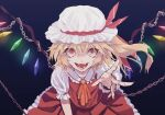 1girl blonde_hair chain crystal dress flandre_scarlet hand_up hat highres laughing mob_cap nanasuou open_mouth red_dress red_eyes touhou vampire
