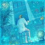 ambiguous_gender aqua_theme bare_legs barefoot curtains dodecahedron flower from_behind highres indoors leaf long_sleeves original plant potted_plant shelf shirt sitting solo star_(symbol) stool vase wacca005 white_shirt window yellow_flower