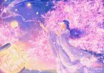 1girl covering_face floating_hair flower halo hands_up japanese_clothes kimono lantern long_hair long_sleeves original petals pink_flower purple_hair purple_kimono sky solo star_(sky) starry_sky wacca005 wide_sleeves