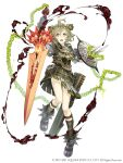 1boy ahoge armor belt belt_pouch chain full_body gauntlets green_eyes green_hair highres ji_no looking_at_viewer official_art pinocchio_(sinoalice) pouch scabbard sheath shield sinoalice smoke solo square_enix sword upper_teeth weapon white_background