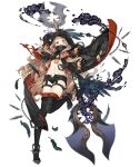 1girl blonde_hair boots cloak feathers full_body hidden_mouth holding holding_weapon hood hooded_cloak ji_no little_red_riding_hood_(sinoalice) lock long_hair looking_at_viewer midriff navel official_art orange_eyes padlock polearm short_shorts shorts sinoalice solo thigh-highs thigh_boots transparent_background weapon