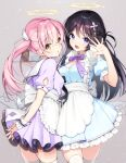 2girls :d :o angel apron arms_behind_back bangs black_hair blue_eyes blush bow braid breasts commentary cowboy_shot cross_hair_ornament cup dress eyebrows_visible_through_hair frilled_apron frills grey_background hair_between_eyes hair_ornament halo hands_up holding holding_tray maid medium_breasts multiple_girls muninshiki open_mouth original own_hands_together pink_hair puffy_short_sleeves puffy_sleeves purple_bow purple_dress short_sleeves smile standing thigh-highs tray twintails white_apron white_legwear wing_hair_ornament wrist_cuffs yellow_eyes