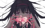 2021 2girls akemi_homura ankle_strap artist_name bags_under_eyes black_hair bound bubble_skirt circle close-up covered_mouth crying crying_with_eyes_open dated eyelashes face faceless faceless_female floating_hair gloves hairband half-closed_eyes hand_up hands_up hanging highres holding kaname_madoka long_hair looking_at_viewer mahou_shoujo_madoka_magica minigirl multiple_girls pink_hair pink_ribbon puffy_short_sleeves puffy_sleeves red_footwear red_hairband restrained ribbon rok0813 sad shiny shiny_hair short_sleeves simple_background skirt socks straight_hair surreal tears tied_up tsurime twintails unconscious violet_eyes white_background white_gloves white_legwear white_skirt
