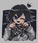 1boy ;d black_hair buttons checkered checkered_neckwear checkered_scarf cropped_torso crown danganronpa_(series) danganronpa_v3:_killing_harmony double-breasted flipped_hair gradient_hair grey_background grey_jacket hair_between_eyes hands_up jacket kara_aren long_sleeves lower_teeth male_focus multicolored_hair one_eye_closed open_mouth ouma_kokichi purple_hair scarf short_hair smile solo straitjacket translation_request two-tone_hair violet_eyes