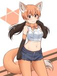 1girl animal_ears arm_at_side bangs bare_shoulders black_gloves black_hair black_shorts blush brown_eyes commentary cowboy_shot crop_top cutoffs disconnected_mouth elbow_gloves extra_ears eyebrows_visible_through_hair gloves gradient_gloves highres kemono_friends legwear_under_shorts looking_at_viewer low_twintails maned_wolf_(kemono_friends) midriff multicolored_hair navel orange_gloves orange_hair orange_legwear pantyhose shiraha_maru shirt short_shorts shorts simple_background sleeveless sleeveless_shirt smile solo tail twintails white_shirt wolf_ears wolf_girl wolf_tail