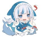 1girl :d animal bloop_(gawr_gura) blue_eyes blue_hair blue_hoodie blush character_name claw_pose commentary drawstring english_commentary fish_skeleton fish_tail full_body gawr_gura grey_hair hands_up hitsukuya hololive hololive_english hood hood_up hoodie long_hair looking_at_viewer multicolored_hair open_mouth shark shark_tail sharp_teeth shrimp simple_background smile streaked_hair tail teeth thigh-highs virtual_youtuber white_background white_legwear