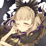 1girl blonde_hair blush braid briar_rose_(sinoalice) hair_ornament highres looking_at_viewer one_eye_closed open_mouth ribbon short_hair sinoalice solo teroru thorns tired yellow_eyes
