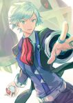 1boy belt collared_shirt commentary_request gen_3_pokemon grey_eyes grey_hair highres holding holding_poke_ball jacket jewelry looking_at_viewer male_focus metagross pants parted_lips peco-midori poke_ball poke_ball_(basic) pokemon pokemon_(creature) pokemon_(game) pokemon_oras red_neckwear ring shirt short_hair smile spread_fingers steven_stone vest white_background white_shirt