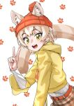 absurdres animal_ears animal_print beanie belt blonde_hair brown_skirt cat_(kemono_friends) cat_ears cat_girl cat_print cat_tail commentary_request cowboy_shot ears_through_headwear extra_ears eyebrows_visible_through_hair hat highres hood hood_down kemono_friends kemono_friends_3 light_brown_hair long_sleeves multicolored_hair official_alternate_costume orange_headwear plaid plaid_skirt shirt short_hair skirt sweater tail tanabe_(fueisei) v white_shirt yellow_eyes yellow_sweater