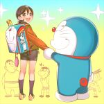 backpack doraemon doraemon_(character) gouda_takeshi honekawa_suneo long_socks minamoto_shizuka nobi_nobita red_belt shoes