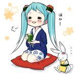 ... 1girl 1other =3 =_= abbreviated_karakusa aqua_hair blue_kimono blush borrowed_design cup cushion face_painting floral_background food food_themed_hair_ornament full_body ginger gradient_hair green_tea hair_ornament hatsune_miku holding holding_cup japanese_clothes kimono kotobuki0101 long_hair makizushi multicolored_hair nigirizushi open_mouth rabbit rabbit_yukine roe seiza shorts sitting smile steam sushi tea teacup twintails vocaloid white_background white_shorts yuki_miku