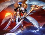 1boy angel armor black_hair blade dual_wielding genzoman halo holding holding_sword holding_weapon lucifer multiple_wings mythology shoulder_armor sword weapon wings