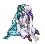 2girls aqua_dress aqua_eyes aqua_hair clarith corset dress evillious_nendaiki grey_hair hair_ribbon hatsune_miku kiraru_rarirari kiss kneeling long_hair michaela_(evillious_nendaiki) multiple_girls ponytail ribbon sennen_no_wiegenlied_(vocaloid) shiro_no_musume_(vocaloid) surprise_kiss surprised twintails very_long_hair vocaloid white_hair wide-eyed wide_sleeves yowane_haku yuri