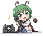 1girl :d bangs blue_pants bug cape eighth_note eyebrows_visible_through_hair full_body green_eyes green_hair heart holding holding_phone insect knees_up ladybug long_sleeves looking_at_viewer musical_note open_mouth pants phone rokugou_daisuke rotary_phone shirt short_hair simple_background sitting smile touhou white_background white_shirt wriggle_nightbug