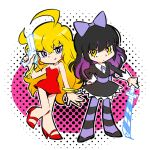 1girl ahoge black_dress black_hair blake_belladonna blonde_hair bow cosplay dress gun hair_bow highres iesupa long_hair multicolored_hair panty_&_stocking_with_garterbelt panty_(psg) panty_(psg)_(cosplay) parody red_dress rwby stocking_(psg) stocking_(psg)_(cosplay) style_parody sword two-tone_hair wavy_hair weapon yang_xiao_long yellow_eyes