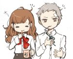 1boy 1girl :t bangs black_neckwear black_skirt brushing_teeth closed_eyes cup gekkoukan_high_school_uniform grey_hair hair_down holding holding_cup long_hair long_sleeves mouth_hold mug neck_ribbon persona persona_3 persona_3_portable red_neckwear ribbon sanada_akihiko school_uniform shiomi_kotone shirt simple_background skirt toothbrush tyo197snh white_background white_shirt