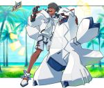 1boy black_hair closed_eyes clouds collared_shirt commentary_request dark_skin dark_skinned_male day duraludon gen_4_pokemon gen_8_pokemon gloves grass grey_headwear grey_shorts highres hood hood_down hoodie knees male_focus open_mouth outdoors palm_tree partially_fingerless_gloves pokemon pokemon_(creature) pokemon_(game) pokemon_masters_ex raihan_(pokemon) rotom rotom_phone shirt shoes shorts side_slit side_slit_shorts single_glove sky smile standing taking_picture teeth tongue tree undercut white_footwear white_hoodie wrbs |d