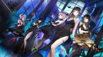 5girls :q alcohol anti-rain_(girls_frontline) bahao_diqiu bare_shoulders black_dress black_eyes black_gloves black_hair black_legwear blue_eyes blurry blurry_background bottle breasts brown_eyes brown_hair bug butterfly champagne_flute criss-cross_halter cup depth_of_field detached_collar dress drinking_glass dutch_angle eyepatch girls_frontline glint gloves green_hair gun halterneck heterochromia high_heels highres insect large_breasts long_hair low-tied_long_hair m16a1_(girls_frontline) m4_sopmod_ii_(girls_frontline) m4a1_(girls_frontline) medium_breasts multicolored_hair multiple_girls night official_alternate_costume official_art pantyhose parted_lips pink_hair pink_legwear ponytail ro635_(girls_frontline) side_slit sidelocks small_breasts source_request st_ar-15_(girls_frontline) strapless strapless_dress streaked_hair thighlet tongue tongue_out weapon wine wine_bottle wine_glass