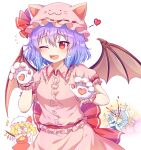 3girls ;d ^^^ absurdres animal_ears ascot bangs bat_wings blonde_hair blood blue_dress blue_hair blush bow braid breasts bright_pupils caramell0501 cat_ears chibi cowboy_shot crystal dress eyebrows_visible_through_hair fang flandre_scarlet flying_sweatdrops gloves green_bow hair_between_eyes hands_on_own_chest hat hat_with_ears heart highres izayoi_sakuya maid_headdress medium_breasts mob_cap multiple_girls nosebleed one_eye_closed one_side_up open_mouth paw_gloves paws pink_dress pink_headwear red_bow red_eyes red_skirt red_vest remilia_scarlet shaded_face short_sleeves side_braids silver_hair simple_background skirt smile solo_focus sparkle touhou twin_braids vest white_background white_headwear wings