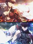 2boys abs archer_(fate) archer_(fate)_(cosplay) armor cape cosplay emiya_shirou emiya_shirou_(prisma_illya) fate/grand_order fate/kaleid_liner_prisma_illya fate/stay_night fate_(series) field_of_blades headband holding igote japanese_armor japanese_clothes kusazuri limited/zero_over long_sleeves multiple_boys multiple_weapons orange_hair planted_sword planted_weapon raglan_sleeves red_headband redhead sengo_muramasa_(fate) shirtless short_hair single_bare_shoulder sword toned toned_male tsuezu unlimited_blade_works_(fate) weapon white_cape yellow_eyes