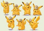 brown_eyes closed_eyes commentary_request dab_(dance) detective_pikachu detective_pikachu_(character) fluffy gen_1_pokemon grey_headwear hat hatted_pokemon legs_apart misica multiple_views no_humans open_mouth pikachu pokemon pokemon_(creature) smile standing yellow_fur |d