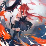 1girl arknights bare_shoulders collar demon_girl demon_horns dress high_heels holding holding_weapon horns kneehighs long_hair looking_down lowres redhead solo spiked_collar spikes surtr_(arknights) sword weapon worthlessness