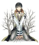 1boy archbishop_(ragnarok_online) bangs black_coat black_eyes black_hair chest_tattoo coat commentary_request eyebrows_visible_through_hair full_body grey_pants hair_between_eyes kneeling looking_at_viewer male_focus misuguu open_mouth own_hands_together pants ragnarok_online short_hair solo tattoo two-tone_coat white_background white_coat