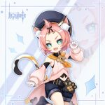 +_+ 1girl :d :e animal_ears animal_print arm_up armpit_peek blue_eyes bow cat_ears cat_girl cat_print cat_tail commentary_request detached_sleeves diona_(genshin_impact) eyes_visible_through_hair genshin_impact gloves hair_bow hair_ribbon hat highres looking_at_viewer open_mouth paw_pose pink_hair que_meng_meng ribbon short_hair shorts sidelocks smile solo symbol-shaped_pupils tail thick_eyebrows v-shaped_eyebrows white_gloves