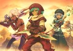 .hack// .hack//games 1girl 2boys armor bikini_armor black_rose_(.hack//) blue_eyes blue_hair dagger dark_skin elk_(.hack//) facial_mark flat_chest gecco_knight gloves hat kite_(.hack//) multiple_boys open_mouth red_eyes short_hair silver_hair smile staff sword tattoo weapon