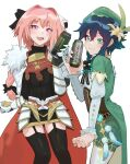 2boys androgynous argyle argyle_legwear astolfo_(fate) bangs beret black_hair black_legwear black_skirt blue_hair blush bow braid can cape cloak closed_mouth collared_cape corset english_commentary eyebrows_visible_through_hair fang fate/apocrypha fate/grand_order fate_(series) feathers flower frilled_sleeves frills fur-trimmed_cloak fur_trim garter_straps gauntlets genshin_impact gorget gradient_hair green_eyes green_headwear green_shorts hair_bow hair_flower hair_intakes hair_ornament hair_ribbon hat highres holding holding_can leaf long_braid long_hair long_sleeves looking_at_viewer male_focus monster_energy multicolored_hair multiple_boys open_mouth otoko_no_ko pantyhose pencil_skirt pink_hair raneblu ribbon shirt short_hair_with_long_locks shorts simple_background single_braid skin_fang skirt smile streaked_hair thigh-highs twin_braids venti_(genshin_impact) violet_eyes vision_(genshin_impact) white_background white_flower white_hair white_legwear white_shirt