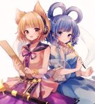 2girls :d bangs bare_shoulders blue_dress blue_eyes blue_hair blurry blush bracelet breasts brown_eyes closed_mouth collarbone cowboy_shot depth_of_field dress earmuffs eyebrows_visible_through_hair hagoromo hair_ornament hair_rings hair_stick highres holding holding_rod holding_stick jewelry kaku_seiga light_brown_hair looking_at_viewer medium_breasts moshihimechan multiple_girls open_mouth purple_neckwear purple_ribbon purple_skirt ribbon ritual_baton shawl sheath sheathed simple_background skirt smile stick sword touhou toyosatomimi_no_miko vest weapon white_background white_vest