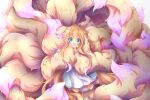 1girl :d absurdly_long_hair absurdres animal_ear_fluff animal_ears blue_eyes dress fang fluffy fox_ears fox_girl fox_tail full_body highres holding_own_tail huge_filesize light_brown_hair long_hair long_sleeves looking_at_viewer macaroni710 multicolored multicolored_tail open_mouth original pink_tail skin_fang smile tail too_much_fluff very_long_hair