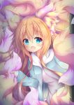 1girl :d absurdres animal_ear_fluff animal_ears blue_eyes fangs fluffy fox_ears fox_girl fox_tail highres holding_own_tail hood hood_down hoodie long_hair macaroni710 multicolored multicolored_tail open_clothes open_hoodie open_mouth orange_hair original pink_tail skin_fangs smile tail
